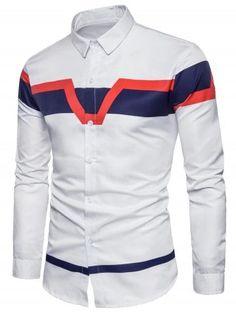 07f369f421 Color Block Panel Print Long Sleeve Shirt Roupas Masculinas
