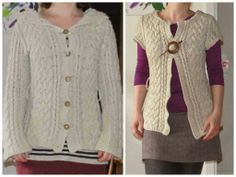 Sweater cardigan to vest refashion. Saga i farver: Sweater til vest