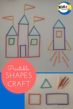 Printable shapes craft: A Princess Castle and a Rocketship by Kidz Activities