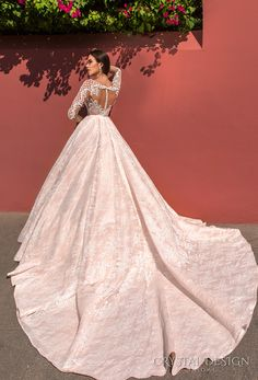 crystal design 2017 bridal long sleeves deep plunging sweetheart neckline heavily embellished bodice lace princess pink ball gown wedding dress keyhole back monarch train (jovana) bv