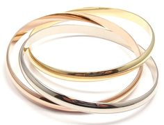 Estate Cartier Trinity 18K Tri Color Gold Large Model Rolling Bangle Bracelet | eBay - $6,825