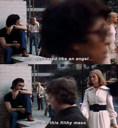 """""""She appeared like an angel. Out of this filthy mass."""" - Scorsese in his own film, """"Taxi Driver"""", Taxi Driver Quotes, Taxi Driver 1976, Great Films, Good Movies, Movie Captions, Badass Movie, Top Film, Favorite Movie Quotes, Movie Shots"""