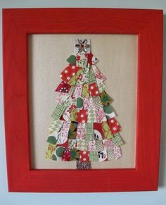 Scrap fabric tree - I can see doing this with scrap paper too - Fabric materia .Scrap fabric tree - I can see doing this with scrap paper too - Fabric material Paper scrap TreeRecycled Fabric Christmas Trees, Diy Christmas Tree, Winter Christmas, Christmas Tree Decorations, Christmas Holidays, Christmas Ornaments, Christmas Ideas, Christmas Material, Christmas Quilting