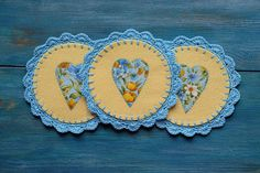 Felt casters crochet lace sky blue and yellow set kitchen decor cozy home flowers hearts applique nice gift