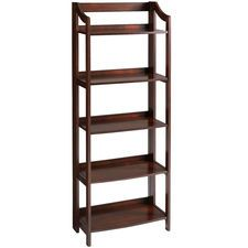 """For back rm/""""library"""" and/or in work office (home), maybe BR?  Pros: NO ASSEMBLY! On sale (still pricey for 5-6 units), can get deal thru 6/19 + w/P1 card  Cons: $149 x 5-6 = too high. No back, not as """"warm"""" as I'd like nor has faux built-in look I'd like. P1-Clifton Tall Folding Shelf - Tobacco Brown"""
