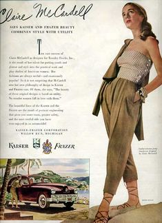 Dramatic Hard To Find CLAIRE MCCARDELL For Kaiser-Frazer Autombiles Ad~LHJournal Feb. 1948