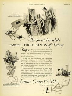 1927 Ad Eaton Crane Pike Fine Writing Papers Envelopes Stationery