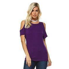 Womens Cutout Cold Shoulder Top by Isaac Liev  Premium Quality Assorted Colors 3XLarge Eggplant *** You can find out more details at the link of the image.Note:It is affiliate link to Amazon.