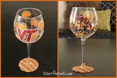 Virginia Tech Wine Glass Themed Striped Go Hokies Polkadot Custom Hand Painted via Etsy