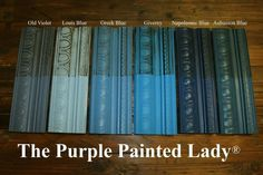 Chalk Paint® by Annie Sloan- Comparison of Old Violet, Louis Blue, Greek Blue, Giverny, Aubusson Blue and Napoleonic Blue (all sample boards have two coats of paint, ONE coat of clear wax over the ENTIRE board, then Annie's dark wax (which is a brown, rustic wax) over 1/2 the board.