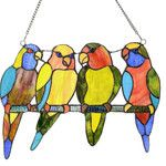 <strong>Tropical Birds Tiffany Style Stained Glass Window Panel</strong> by River of Goods