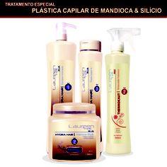PLÁSTICA CAPILAR DE MANDIOCA & SILÍCIO -  Em sua formulação estão presentes o Extrato de Mandioca e o Silício, princípios ativos que combatem o aparecimento dos radicais livres que enfraquecem a estrutura capilar e  queratina que é o componente essencial do fio. Além disso, a queratina penetra na cutícula do cabelo, hidratando e restaurando fio a fio, devolvendo a maciez, o brilho e repondo a queratina natural do cabelo.