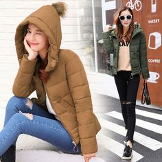 Women Short Coat With Fur Ball Hooded Jacket Winter Parkas Light-Weighted Outfit