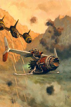 Aircar by Waldemar von Kozak (владимир казак) Diesel Punk, Arte Sci Fi, Sci Fi Art, Concept Ships, Concept Art, Fantasy Kunst, Fantasy Art, Creative Illustration, Illustration Art