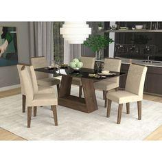 Sala de Jantar Alana 180X90, com Vidro Temperado, com 6 Cadeiras Tais com Moldura Marrocos/Sued Bege - Cimol no Shoptime