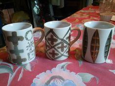 Collectible Ceramic Mugs/cups Coffee Tea Cocoa Set Of 3 Euc 8oz. Multi Color