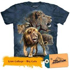 The Mountain Lion Collage T-Shirt Feline Cat Blue - Lion Shirt - Ideas of Lion Shirt Collage, Renaissance, Animal Print T Shirts, Gothic, Lion Shirt, Mountain Lion, Dye T Shirt, Zoo Animals, Big Cats