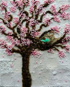 Blossom tree with nest by Kirsten Chursinoff Embroidery Keka❤❤❤ Silk Ribbon Embroidery, Beaded Embroidery, Cross Stitch Embroidery, Embroidery Patterns, Hand Embroidery, Crazy Quilting, Art Textile, Brazilian Embroidery, Sewing Stitches