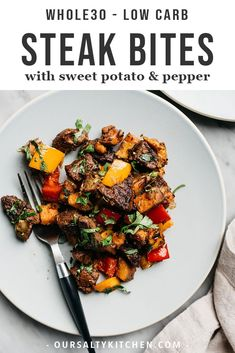 These steak bites are packed with tons of flavor and huge pops of healthy vitamins and minerals thanks to colorful sweet potatoes, bell peppers, green onions, and fresh cilantro. This weeknight dinner recipe takes one pan and is ready in under 45 minutes. Whole30 Dinner Recipes, Paleo Recipes, Real Food Recipes, Cooking Recipes, Cooking Ham, Cooking Turkey, Fast Recipes, Potato Recipes, Clean Eating Recipes