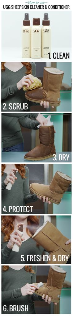 How to clean UGG boots: Keep your favorite UGG boots looking their best with UGG Sheepskin Cleaner and Conditioner. In 5 easy steps, your UGG Classics will be restored to their original look and feel.