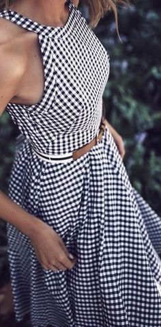 Gingham dress with belt