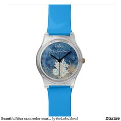 Beautiful blue sand color coastal custom watch Personalized Buttons, Top Band, Watercolor Background, Lovers Art, Watch Bands, Sea Shells, Back To School, Coastal, Fashion Accessories