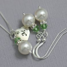 CUSTOM COLOR Bridesmaid Gift, Sterling Silver Personalized Bridesmaid Set, White Pearl and Light Green (Peridot) Crystal Jewelry Set