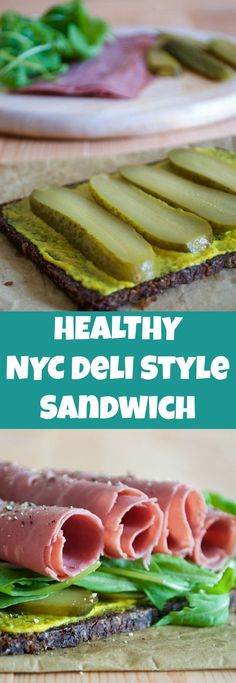This NYC Deli Style pastrami, rocket and mustard sandwich with a healthier twist! This is delicious and perfect for a light lunch.
