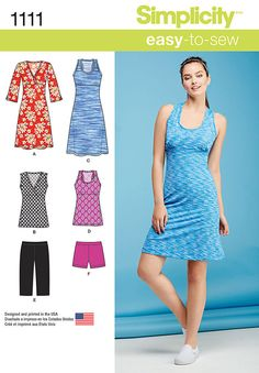 this great active wear pattern for miss features dress or tunic with either racer back or cross front all with built in bra, and short shorts or knee length shorts that can be worn underneath. simplicity sewing pattern.