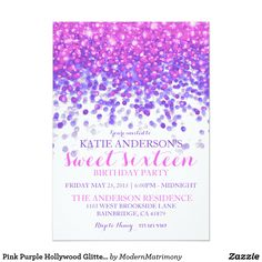 Pink Purple Hollywood Glitter Sweet Sixteen Party Card This feminine, over the top Hollywood glam themed sweet sixteen birthday party invitation features a black background with hot pink and purple sparkling glitter falling from the top of the card.