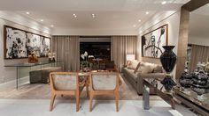 Salas de estar, jantar, tv, bate papo e varanda decoradas com cor fendi e elementos madeirados!