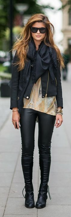 Scarf leather pants long boots with jacket