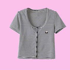 KOKO Alien stripe Crop Top Short Sleeve BUTTON