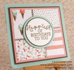 "Happy ""Birthday Blooms"" – Sneak Peak | Clean & Simple Design | designed by Carol Lovenstein  www.pinkstampagne.com | Stampin' Up! Card Idea"