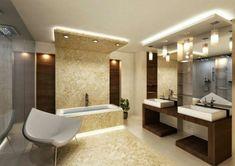 faux plafond suspendu, une salle de bains super élégante, baignoire et vasques rectangulaires