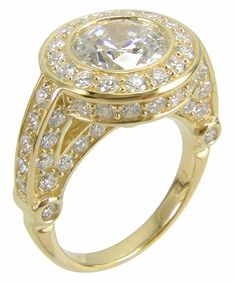 Ziamond Cubic Zirconia 2 Carat 8mm Round Halo Engagement Ring in 14K Yellow Gold.  The Hermitage Ring features a bezel set round center cz highlighted by a halo of pave set round cz. $1295 #ziamond #cubiczirconia #cz #halo #engagement #ring #solitaire #wedding #bridal