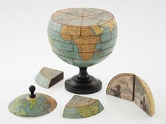 """This """"dissected globe"""" dates to around 1866 - at the time such items were a popular toy for children - dissected globe brings to mind many possibilities for a puzzle along with information such as the Earth's interior makeup & tectonics. Vintage Maps, Art Globe, Globe Lamps, Cs6 Photoshop, World Globes, Deco Boheme, Popular Toys, E Mc2, Geography"""