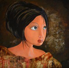"""Peinture acrylique sur bois 40X40. La """"Bohêmia""""."""