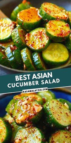 Cooked Cucumber, Asian Cucumber Salad, Cucumber Recipes, Veggie Recipes, Vegetarian Recipes, Healthy Cooking Recipes, Asian Salads, Healthy Asian Recipes, Salad Recipes
