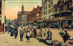 This postcard of Cape Town, South Africa dates from around Adderley Street is still Cape Town's main street, with banks, business cen. Cape Town South Africa, Beaches In The World, Most Beautiful Beaches, Historical Pictures, Old Photos, Vintage Photos, Travel Posters, Old Houses, Travel