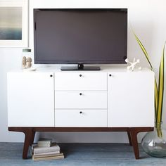 Dumont Media Console - White | West Elm Too white?  Too sleek?  I don't know, I like it..