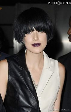 Agyness Deyn, bowl cut, dress black and white...perfect