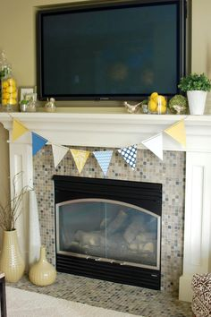Mosaic Glass Tile Fireplace Surround | ... us flat work surface is ...