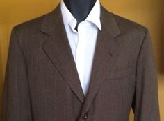 Hickey Freeman Pin Striped Brown 100% Pure Wool 2 Pc Suit | 40R (34X30) Pants