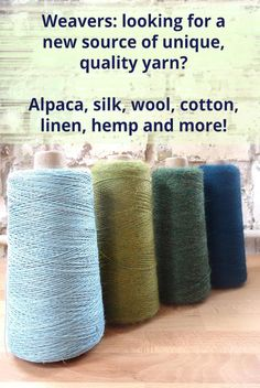Weaving yarn - alpaca, cotton, wool, silk, linen, and hemp yarn for weavers