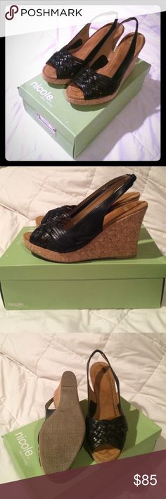Leather wedge sandals New in box, real leather and made in Brazil! I only had them inside the house. Nicole  Shoes Wedges