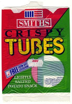 OMG I remember these, they had the same textures as the squares crisps, and had long thin tubes and hula hoop shaped tubes. Also remember the Smiths logo, and going to the Smiths crisps factory on a school trip & coming home with loads of freebies! :)