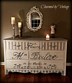 Vintage Paris Grey and White Dresser RESERVED by CharmedByVintage