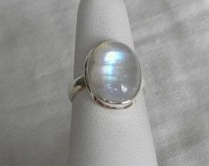 Rainbow Moonstone Ring Handmade 15x10mm Nice Semiprecious Gemstone Nice Sterling Silver Women's Band Size 7 Take 20% Off Jewelry Gift Sale on Etsy, $38.54