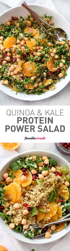 Quinoa, chickpeas (garbanzo beans) and pistachios add protein and healthy fat to this simple and seasonal kale salad, making it a favorite side dish or vegetarian main meal | foodiecrush.com